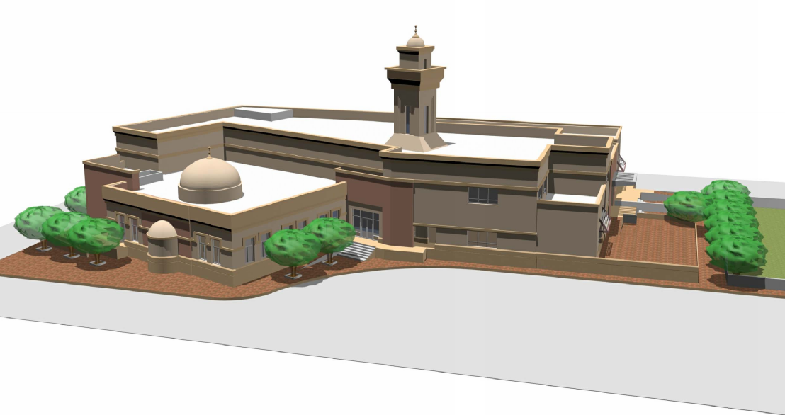 Perspective Drawing of Mosque at ADNOC Ruwais Housing Complex